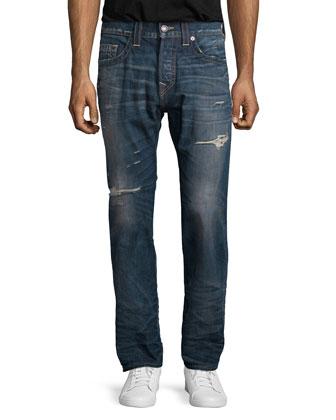 Ricky Distressed Denim Jeans, Blue