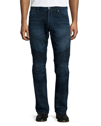 Rocco Deep Shadow Moto Jeans, Blue