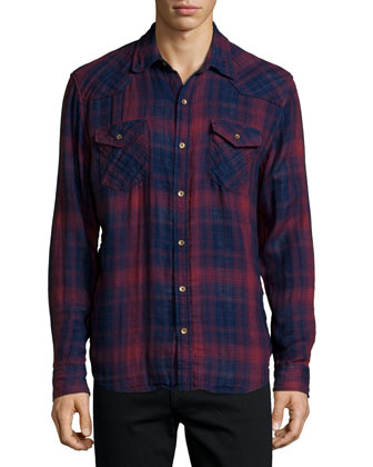 Orpheum Plaid Long-Sleeve Shirt, Red