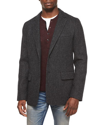 Reserve Textured Two-Button Blazer, Garrett Long-Sleeve Thermal Henley ...