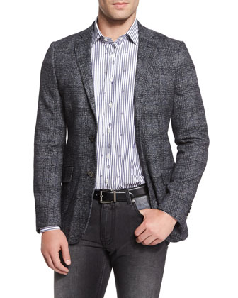 Plaid Two-Button Wool-Blend Blazer, Stripe & Small Paisley-Print Woven ...
