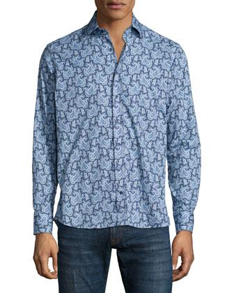 Paisley-Print Long-Sleeve Woven Shirt, Blue