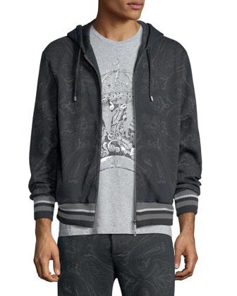 Paisley-Print Zip Hoodie, Dark Gray