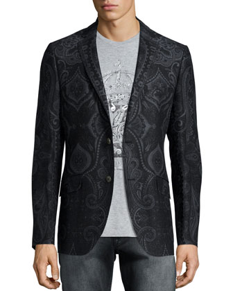 Paisley-Print Two-Button Jacket, Hand-Painted Crown Graphic Tee & Faded ...