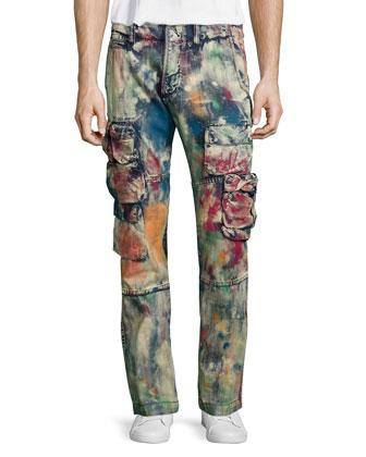 Paint-Splattered Cargo Denim Jeans, Black