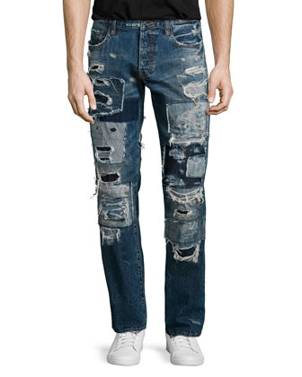 Barracuda Patchwork Distressed Denim Jeans, Indigo