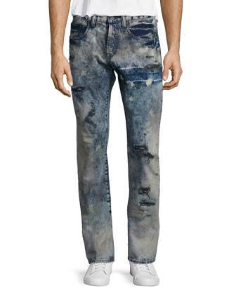 Statue of Liberty Graphic Tee & Barracuda Distressed Tie-Dye Jeans