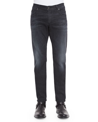 Raglan Long-Sleeve Sweater & Slim-Fit Faded Denim Jeans