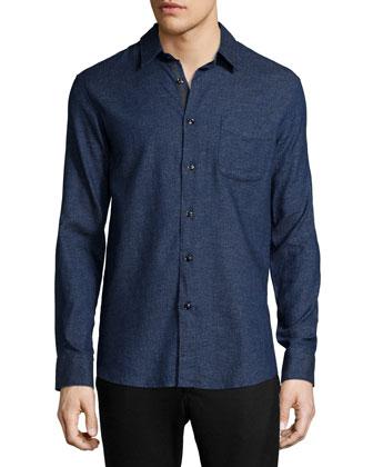 Solid Long-Sleeve Beach Shirt, Indigo