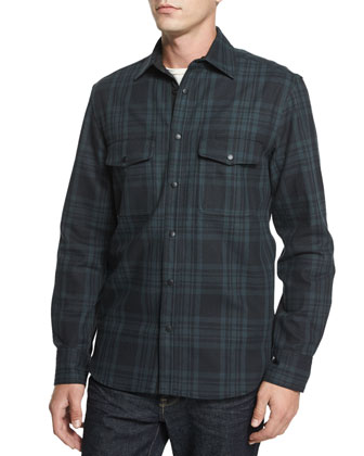 Plaid Jacket with Elbow Patches, Leaf-Print Long-Sleeve Woven Shirt & ...