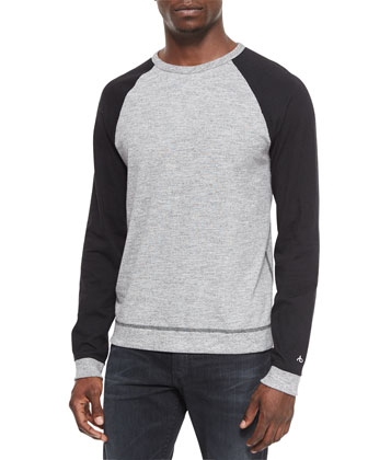 Raglan Long-Sleeve Sweater, Gray