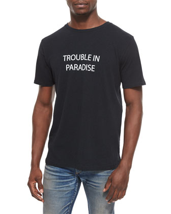 Trouble in Paradise Knit Graphic Tee & Waterloo Distressed Skinny Jeans