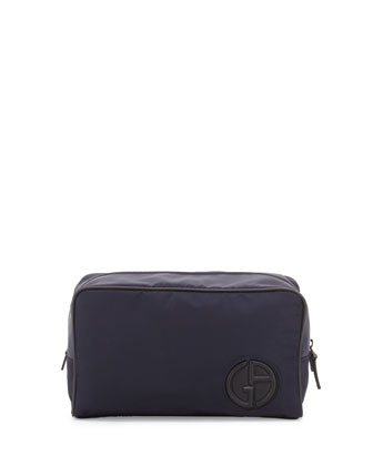 Nylon Travel Bag with Leather Trim, Blue