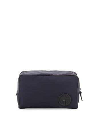 Nylon Travel Bag with Leather Trim, Blue
