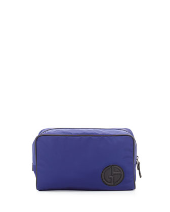 Nylon Travel Bag with Leather Trim, Cobalt