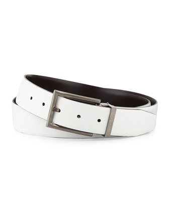 Reversible Leather Belt, Pearl/Espresso