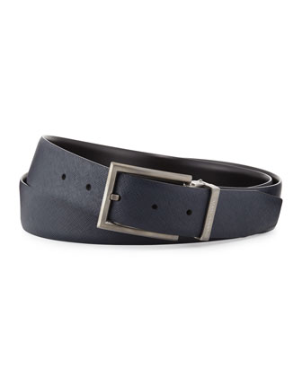 Reversible Leather Belt, Navy/Black