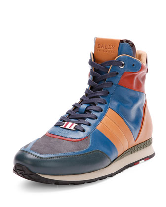 Asiaki Leather High-Top Trainer Sneaker, Teal