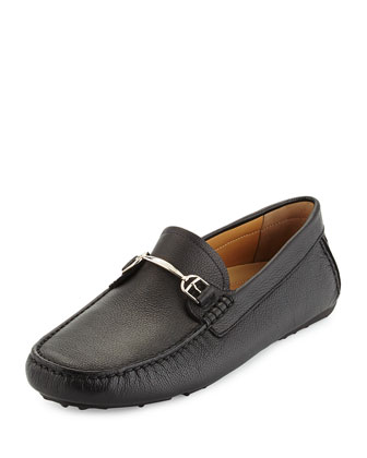 Leather Slip-On Driver, Black