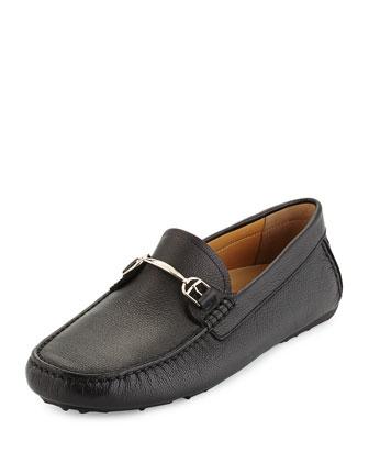 Leather Slip-On Driver, Black