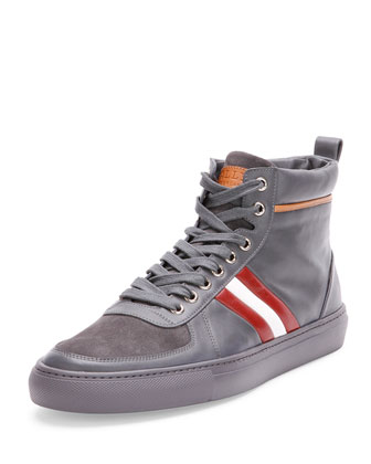 Hervey Leather High-Top Sneaker, Gray