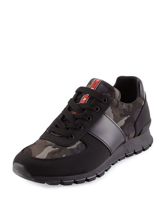 Camo-Print Nylon Running Sneaker, Black/Gray