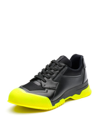 Leather Trainer Sneaker with Contrast Sole