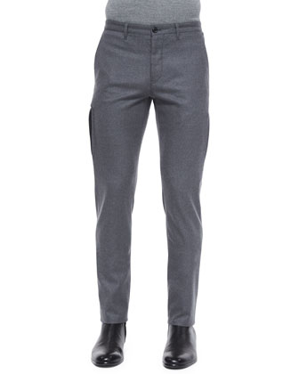 Conall Melange Wool Trousers, Gray