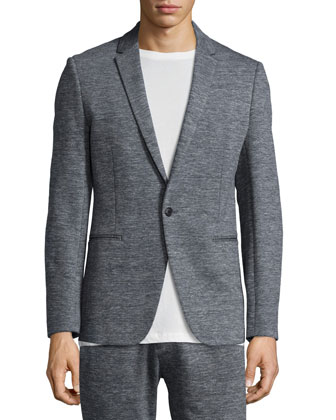 Sterling Heathered-Knit Sport Coat, Gray