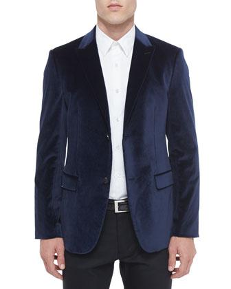 Rylan Velvet Two-Button Sport Coat, Sylvain Textured Long-Sleeve Shirt & ...