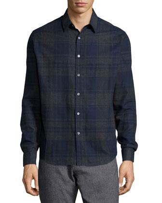 Zack Large-Check Long-Sleeve Sport Shirt, Blue