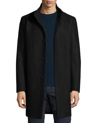 Belvin Wool-Blend Car Coat, Black