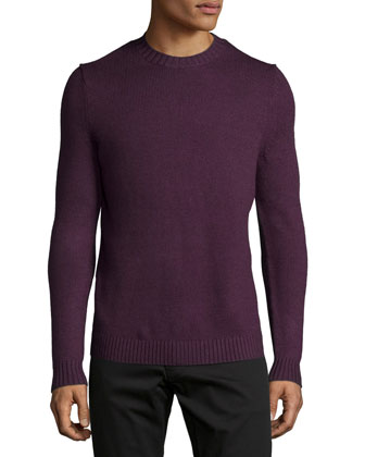 Vernon Crewneck Wool Sweater, Purple