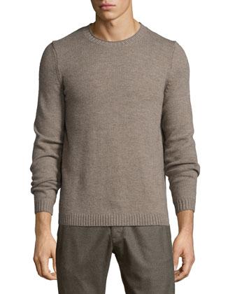 Vernon Crewneck Wool Sweater, Light Brown