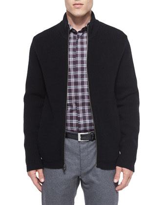 Lacham Ribbed Zip-Up Sweater, Black
