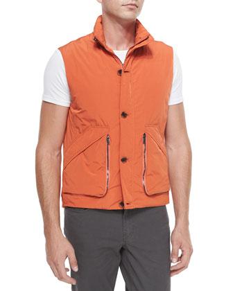 Suede/Poplin Vest & Five-Pocket Slim-Fit Twill Pants