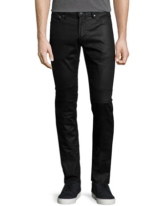 Midnight Coated Moto Jeans, Navy