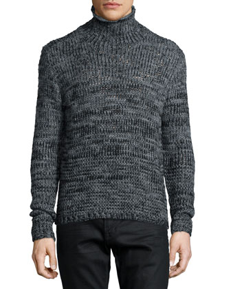 Mixed-Yarn Turtleneck Sweater, Gray