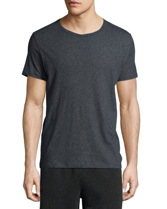 Classic Short-Sleeve Crewneck Tee & Raw-Edge Knit Sweat Shorts