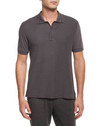 Short-Sleeve Pique Polo Shirt, Gray
