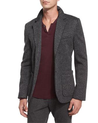 Bonded Knit Speckled Sport Coat, Charcoal