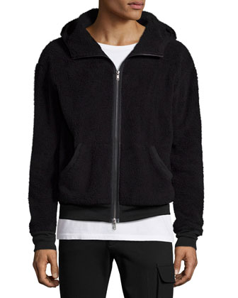 Faux-Fur Hooded Zip-Up Jacket & Slim-Fit Stretch Cargo Pants