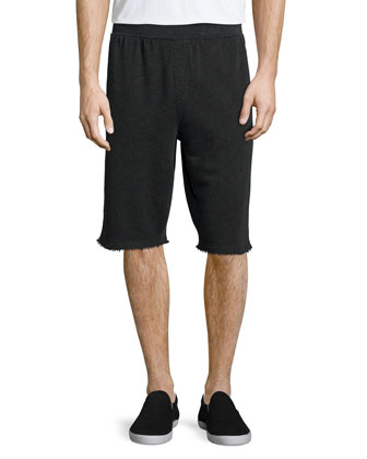 Classic Crewneck Short-Sleeve Tee & Raw-Edge Knit Sweat Shorts