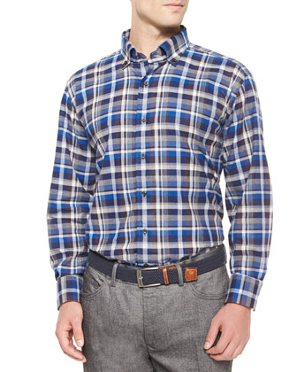 Milano Oxford Plaid Woven Sport Shirt, Blue