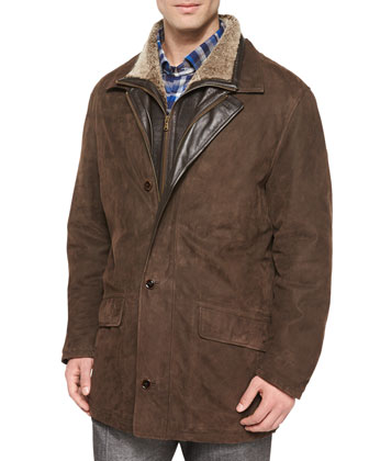 Telluride Double-Layer Shearling Fur Jacket, Brown