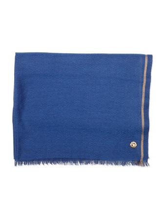 Fringe Cashmere Scarf, Blue