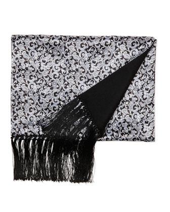 Paisley-Print Silk Scarf, Black/White