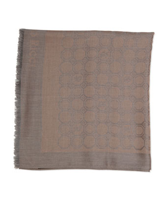 Medallion-Print Silk Scarf, Brown