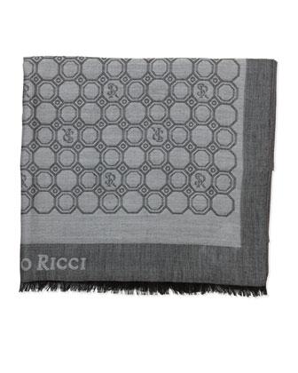 Medallion-Print Silk Scarf, Black