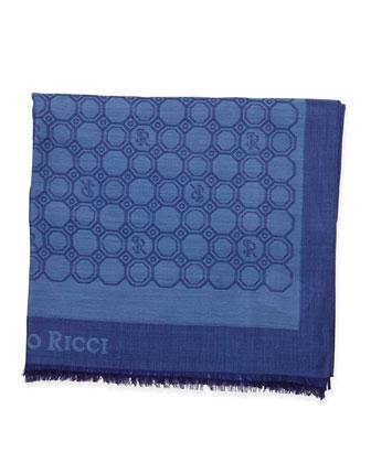 Medallion-Print Silk Scarf, Blue